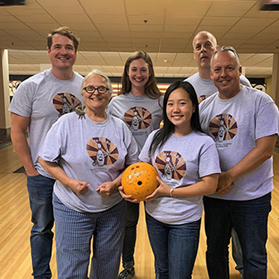Kinesiology staff at bowling party 2019